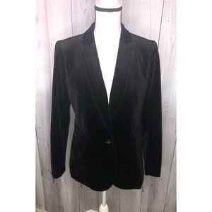 J CREW Lined Black Velvet Blazer Petite Sz 10P